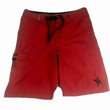 Hurley Phantom Board Shorts Swim Trunks Solid Red Front Cargo Pocket Mens Sz 30