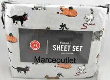 Martha Stewart Cotton Flannel Cats Queen Sheet Set Gray