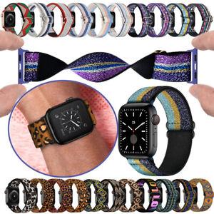 38/40/42/44mm Elastic Straps Nylon Loop For Apple Watch Band Series 7 6 SE 5 4 3