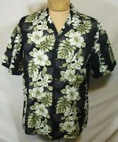 KY'S Aloha Hawaiian Shirt Short Sleeve Palm Leaf Floral Hibscus Black Sz Large