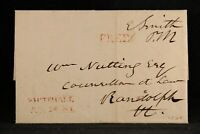 New York: Whitehall 1824 Stampless Cover, Red Straight Line, Postmaster Free