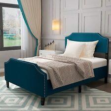 Adjustable Full Size Metal Bed Frame Platform w/ Curved Headboard Bedroom Blue