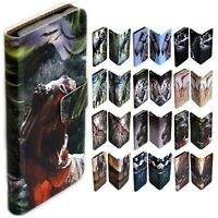 For Apple iPhone Series - Dinosaur Theme Print Wallet Mobile Phone Case Cover