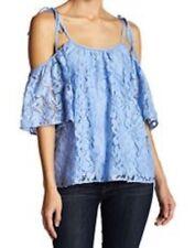NEW PARKER Tessy tie open shoulder lace top blouse Sz XS/S $298 Sky Blue Neimans