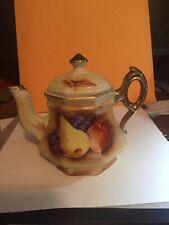 Vintage Enesco Painted Fruit Gold Tone Trimmed Teapot  E 2357