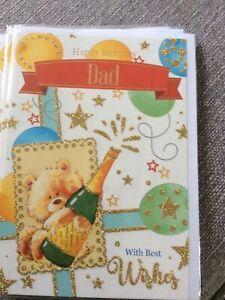 Happy Birthday Dad.Quality Cute Teddy Design Happy Birthday Card. Nice Words.