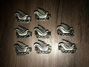 Sleigh Holiday Christmas Napkin Rings Holders Set Of 8 Pewter
