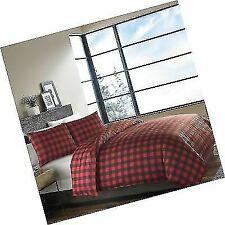 Eddie Bauer 210703 Mountain Plaid Comforter Set Comforter and Sham Size Twin - Scarlet Red