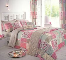 Dreams N Drapes Shantar Patchwork Printed Duvet Cover and Pillowcase Set Single Pink