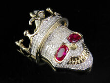 Crown Skull Red Eyed 1 Ct Oval Cut D/VVS1 Lab Diamond 925 Silver Charm Pendant