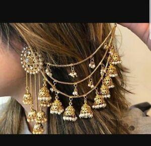 Stunning Gold Stone Indian Ear Cover Chain sahara Jhumka bahubali Earrings pair
