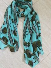 Turquoise blue Scarf / Wrap / hijab -chiffon type - Shoes and bags print