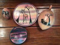 4 Pcs Kenyan Hand Made Decorative Plate Egg African Kenya Pottery Carved Animals
