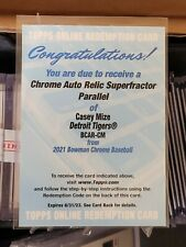 2021 Bowman Casey Mize Chrome Auto Relic Superfractor Parallel Redemption 1/1