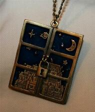 Striking Blue Enamel Starry Sky Window Slider Locket Brasstone Pendant Necklace