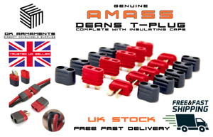 AMASS Deans Connectors Male Female Pairs with insulating CAPS RC UK T plug type