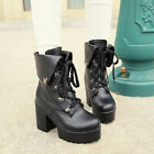 Hot sales Womens Shoes Chunky High Heels Platform Lace Up Gothic Punk Ankle Boot