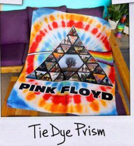New Tie Dye Prism Pink Floyd Plush Throw Gift Blanket Hi Def Photos Syd Barrett