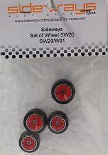 SIDEWAYS SW20/W01 PORSCHE + 3/32 ALUMINUM WHEEL SET NEW 1/32 SLOT CAR PART
