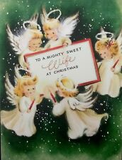 """Cute Angels In Starry Sky Hold Sign """"TO MY SWEET WIFE"""" VTG XMAS Card FRONT ONLY"""