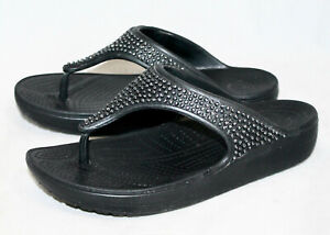 CROCS Sloane Diamante Crystal Embellished Thong Flip Flop Wo's 8 EUR 38.5 Black