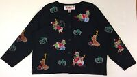 Michael Simon Exclusively Dr. Seuss  Grinch Ladies 2X Embroidered Black Cardigan
