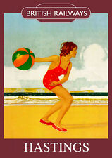 Hastings Vintage British Railways Poster (repro) - Seaside / Landmark A4