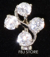 """1 Pc Clear W/4 clear 6mm & 5mm C.Z. Vine Reverse Belly ring 14g 3/8"""""""