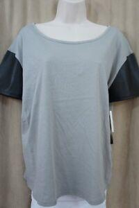 Petti Coat Alley Juniors Top Sz M Grey Black Faux Leather Short Sleeve Shirt