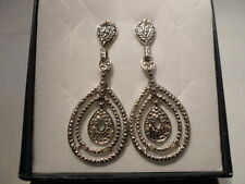 Diamond 0.05 Carat Dangle Earrings in Platinum Overlay