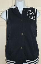 New Juniors size M Varsity Vest Jacket LA rue21 Navy Blue Hooded Pockets