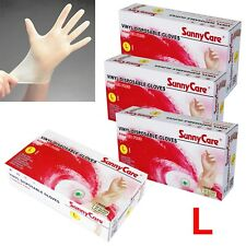 400pcs SunnyCare Powder Free Vinyl Gloves Food Service (Latex Nitrile Free) 🔥XL