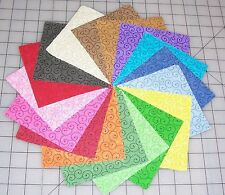 "68 Scroll Fabric 5"" Quilt Squares 100% Cotton Charm pack Tilt a Whirl Rainbow"