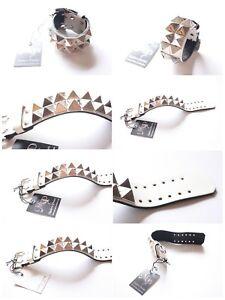 NWT! MODERN PIRATES white leather punk studded Rivet Bracelet Wristband JAPAN
