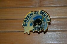 Vintage PLYMOUTH WHALERS OHL LAPEL HAT PIN ONTARIO HOCKEY LEAGUE Catch the Wave