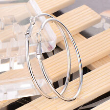 Fashion Women White Gold Filled Large Round Dangle Jewelry Hoop Earrings Jewelry