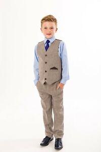 Festlicher Kinderanzug Kommunionsanzug Hochzeit Jungen Anzug 4tlg. braun