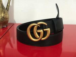 GUCCI belt Genuine Black leather 35mm 90cm