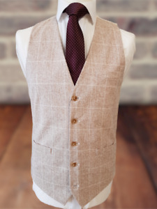 MEN'S LINEN LOOK STONE CHECKED TAILORED FIT WAISTCOAT/VEST - GREAT FOR WEDDINGS!