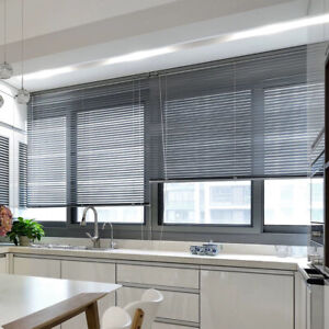 WOODEN SLATS VENETIAN BLINDS UNIVERSAL WINDOW SHADES SHUTTER WITH TAPES CORDS UK