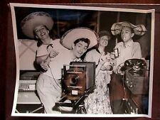 Vintage 8x10 Photo Women Men Sombrero Hat Camera Telephone Beer early 1950's USA