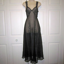 Vtg 40's/50's Frederick's of Hollywood Filmland Creations Black Sheer Nightgown