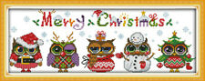 CHRISTMAS OWLS COUNTED CROSS STITCH KIT 14 COUNT AIDA 48x18CM