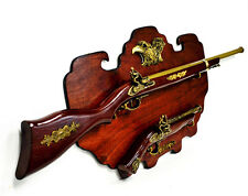 "Gift Wall Mounted Flintlock 39"" Rifle 15"" Pistol Model Set on Wooden Plaque #088"