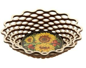 Wood Bread Serving Plate Bowl with Sunflowers Print Biscuit Dish