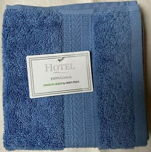 NWT HOTEL COLLECTION 4 BLUE MADE IN GREEN COTTON WASHCLOTH TOWEL