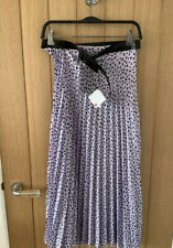 ZARA Lilac Mauve Polka Dot Pleated Skirt with Belt High Waist Size Medium M 10
