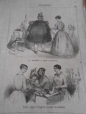 Litho Caricature 19ème Un Immoblie ( trop gros ) objets des militaires