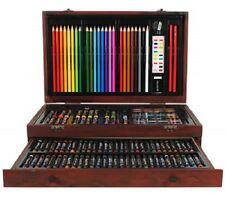 Complete Paint Drawing Colouring Art Kit Box Set w Storage Wooden Case - 138 pcs