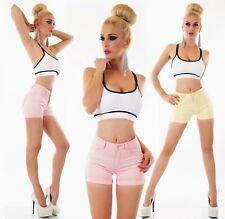 HotPants Jeans Shorts kurze Hose hoher Bund High Waist Stretch XS S M L XL
